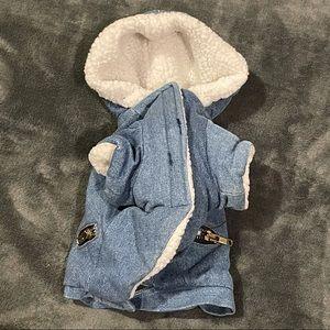 Sherpa-Lined Puppy Hooded Jean Jacket